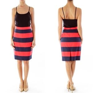 J. Crew Striped Linen Pencil Skirt
